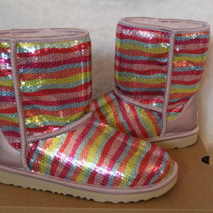 UGG Shoes - UGG SPARKLE SEQUIN RAINBOW BOOTS 8 RARE!
